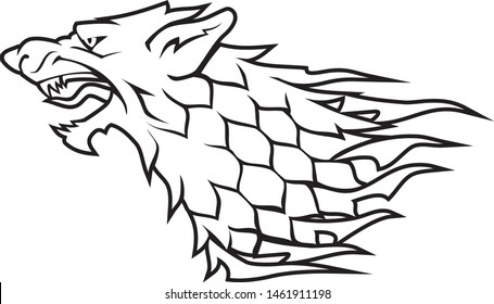 Direwolf Head White Symbol, Abstract Line Art