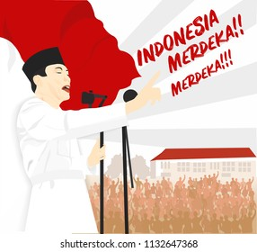 Dirgahayu Indonesia, The Hero of Indonesia burning and giving spirit of struggle independence and national awakening day of Indonesia to him peoples