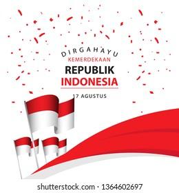 Dirgahayu Kemerdekaan Republik Indonesia Poster Vector Template Design Illustration