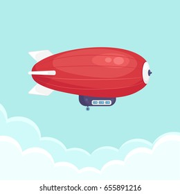 Dirigible balloon, airship isolated on background. Zeppelin in sky. Vector illustration. Flat style design