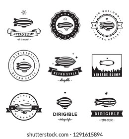 Dirigible (blimp) hipster and vintage black logo vector set. Clean and simple design.