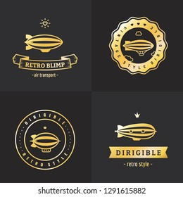 Dirigible (blimp) hipster and vintage gold logo vector set. Part one.