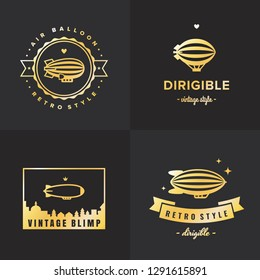 Dirigible (blimp) hipster and vintage gold logo vector set. Part two.