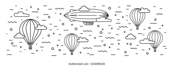 Dirigible and hot air balloons airship. Tools of Aeronautics such as the airship and the balloon to move the delivery by air of goods and people. Elements are drawn in vector in a line art style
