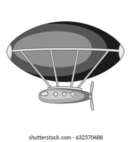 Dirigible icon in monochrome style isolated on white background vector illustration