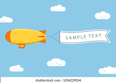Dirigible with ribbon for message. Airship or zeppelin with banner. Flying blimp in sky with clouds. Vector illustration.