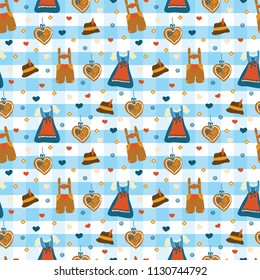 Dirndl dress and Lederhosen Oktoberfest seamless vector pattern. Lebkuchenherz, flowers, hearts, Oktoberfest hat. Blue and white checkered background. Bavarian Oktoberfest costumes.
