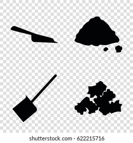 Dirt icons set. set of 4 dirt filled icons such as dustpan, mud