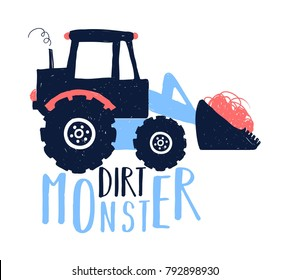 Dirt monster slogan and truck illustration vector.