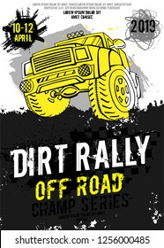 Dirt Rally. Extreme off-road adventure. Vintage style. Vertical vector illustration with unique hand drawn image in white, yellow and black colours useful for retro poster, print and flayer design.