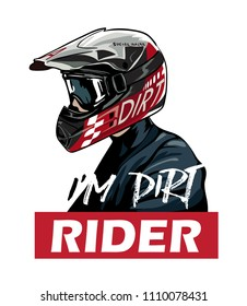 dirt rider in helmet illustration