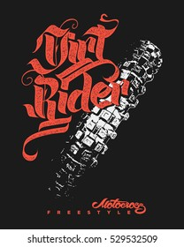 Dirt rider Motocross Freestyle design for apparel.