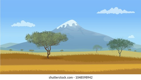 A dirt road in the savannah. Vector illustration.