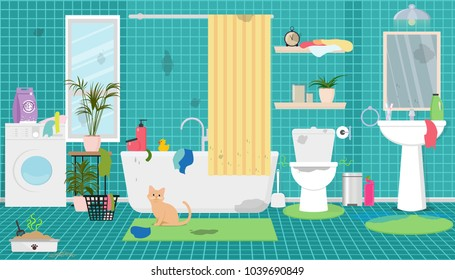 Dirty bathroom, toilet, cat's tray, dirty laundry. Vector flat illustration.