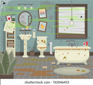 Dirty bathroom with toilet sink bath and accessories in a modern style. Flat vector illustration.