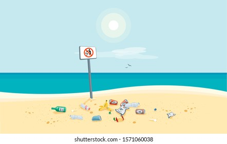 Dirty beach pollution sea view with no littering waste sign. Garbage and trash on the sand beach. Plastic garbage disposed improperly throwing away on the ground. Rubbish fallen near ocean water.