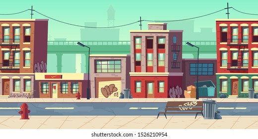 Dirty city street, empty ghetto slum neighborhood area with poor houses buildings with scribbled walls stand at roadside with overfilled litter bins and garbage bags around cartoon vector illustration