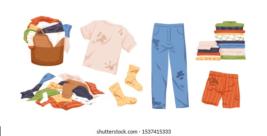 Dirty and clean clothes flat vector illustrations set. Laundry collection. Pile of washed clothing, apparel with stains in basket. Dirty jeans, t shirt and socks isolated design elements on white.