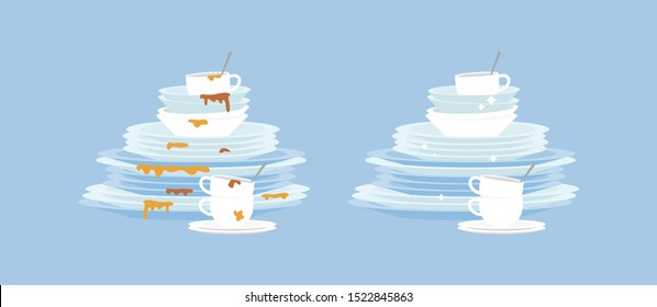 Dirty and clean dishes plates flat cartoon vector illustration isolated on blue background. Kitchen cutlery before and after washing for detergent products advertising.
