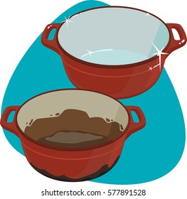 Dirty and clean red cast-iron dutch ovens. Isolated. On blue background.
