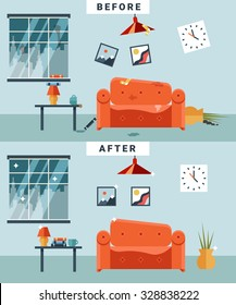 Dirty and clean room before and after cleaning. Garbage and disorder, cup and picture, disorganized cartoon apartment. Vector illustration
