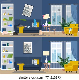 Dirty and clean room. Room before and after cleaning. Flat graphic, vector illustration.