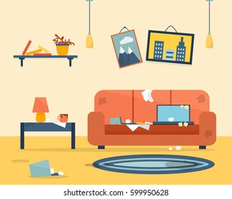 Dirty and clean room. Disorder in the interior. Apartment before and after cleaning. Flat style vector illustration.