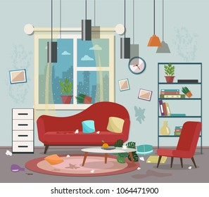 Dirty, cluttered, messy living room. Vector flat illustration.