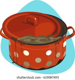 Dirty cooking pot with lid, leftovers and soot. Isolated. Saucepan on blue background.