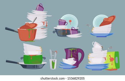 Dirty dish. Restaurant kitchen empty items for washing and cleaning dirty plates mugs vector collection