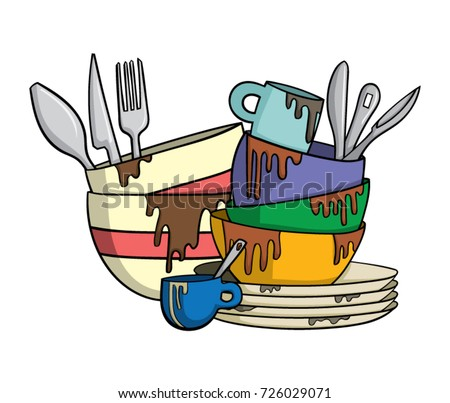 dirty dishes cutlery stock vector royalty free 726029071 rh shutterstock com dirty dishes in sink clipart dirty dishes clip art image