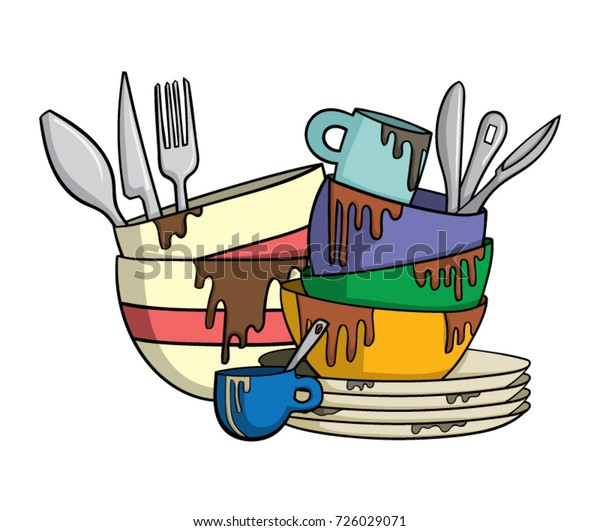 Clip Art Messy Kitchen: Dirty Dishes Cutlery Stock Vector (Royalty Free) 726029071