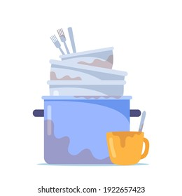 Dirty Dishes Pile, Stack of Cooking Pan, Bowls and Untidy Forks with Cup to Wash, Unhygienic Utensils, Crockery or Kitchenware with Spots Isolated on White Background. Cartoon Vector Illustration