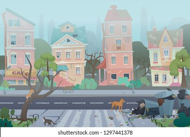 Dirty foggy street with garbage around. Empty city with worn, broken and dirty buildings, waste, full dustbins with cats and dogs. Unfavorable abandoned residential area vector illustration.