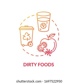 Dirty foods red concept icon. Spoiled apple. Bacteria spread. Foodborne disease. Contaminated water. Rotavirus cause idea thin line illustration. Vector isolated outline RGB color drawing