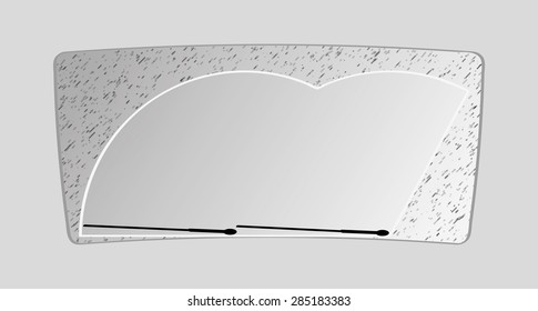 the dirty front window of an automobile, vector illustration