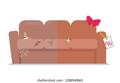 Dirty furniture. After before cleaning. Hauling furniture. Broken sofa. Dusty fabric. Brown leather. Dry cleaning furniture. Upholstery replacement. Comfortable mattress. Manufacture of furniture