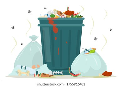Dirty garbage around the trashcan vector isolated. Food waste in the dust bin, unpleasant smell from the trash bags. Flies flying around the rubbish. Filthy view.