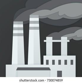 Dirty grey smoke from smokestacks  - vector illustration.Paper art.