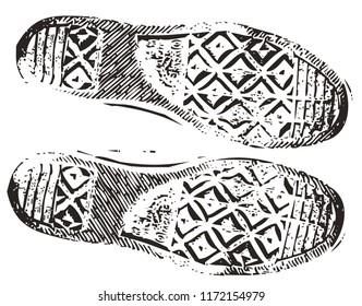 Dirty grunge sneaker footprint