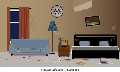 Dirty hotel room interior, EPS 8 vector illustration, no transparencies