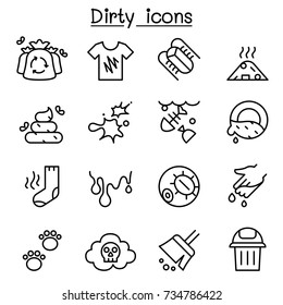 Dirty icon set in thin line style