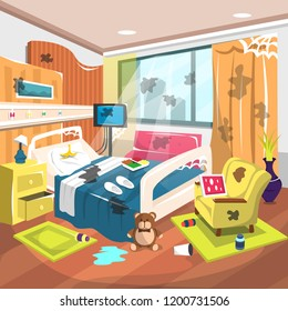 Dirty Inpatient Rehab Room Hospital with Large Bed, Heart Rate Monitor, Sofa, Dolls, Big Windows with Warm Curtain Decoration for Cartoon Vector Illustration Ideas