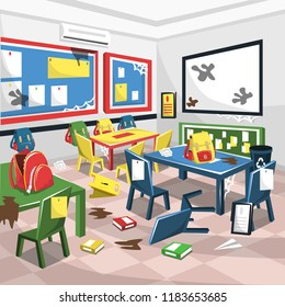 Dirty Junior High School Classroom with White Board, Colorful Study Table and Chair, recycle bin and student bag for Cartoon Vector Illustration Interior