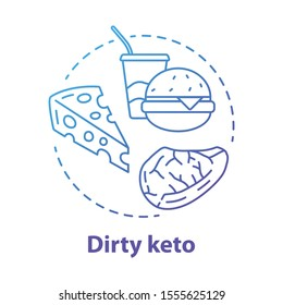 Dirty keto blue gradient concept icon. Ketogenic diet idea thin line illustration. Macronutrient ratio. Fast food, healthy meal, nutrition. Carbs, fats, proteins. Vector isolated outline drawing