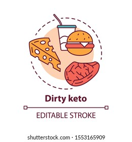 Dirty keto concept icon. Ketogenic diet idea thin line illustration. Macronutrient ratio. Fast food, healthy meal, nutrition. Carbs, fats, proteins. Vector isolated outline drawing. Editable stroke