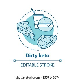 Dirty keto concept icon. Ketogenic diet idea thin line illustration. Macronutrient ratio. Fast food, nutrition plan. Carbs, fats, proteins. Vector isolated outline drawing. Editable stroke