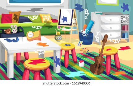 Dirty Kids Art Room and Child Playground with Color Palette, Canvas Painting, Biola, Dools, Pillow and Green Sofa for Vector Illustration Interior Design Ideas
