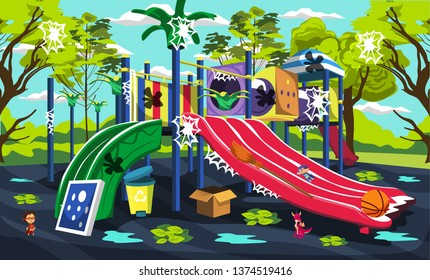 Dirty Kids Playground Outdoor at Green Park with Slides and Tunnels, Box of Toys, Broom and Garbage for Vector Outdoor Design Ideas