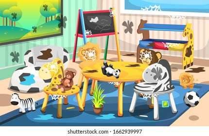 Dirty Kids School Playgroup with Animal and Nature Time, Chalk Board, Lion, Zebra, Teddy Bear and Giraffe Chairs for Vector Illustration Interior Design Ideas